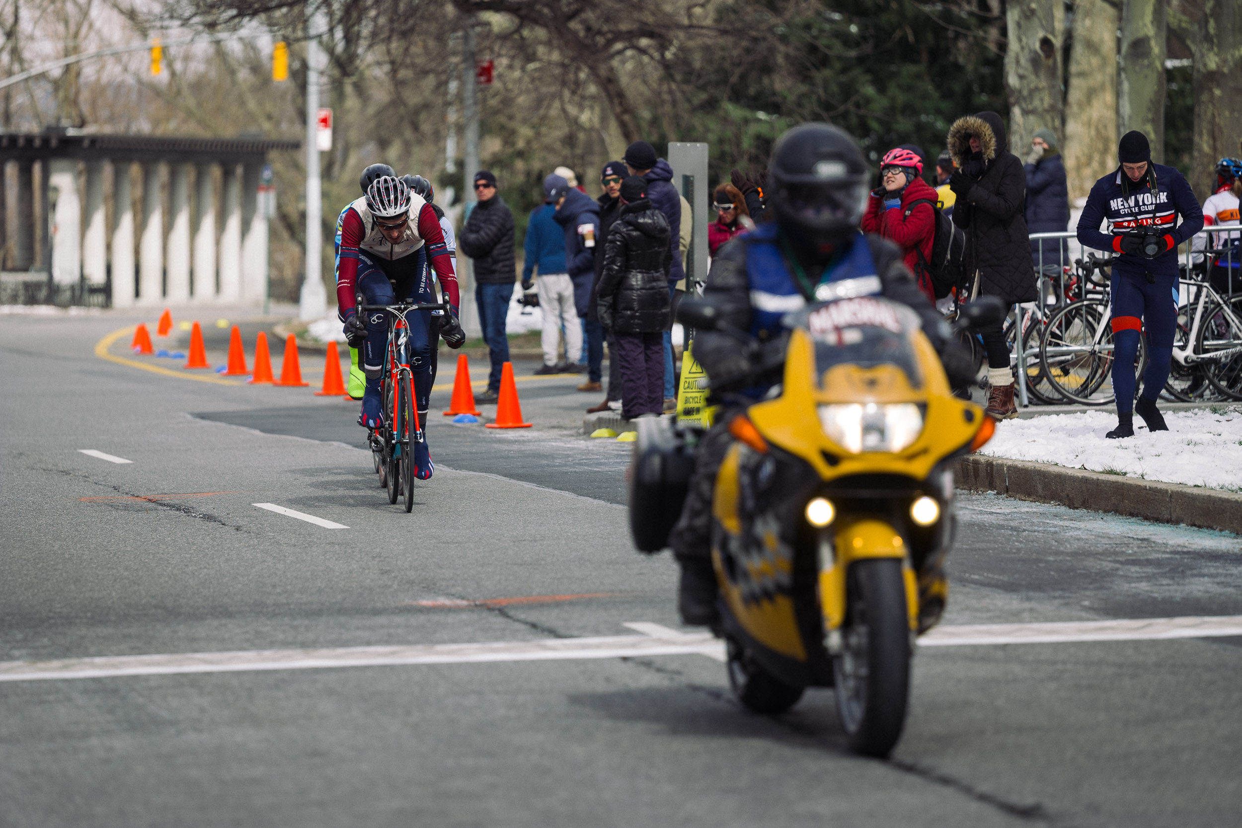 One of our moto officials in action at the Grant's Tomb Criterium, via our 2017 Grant's Tomb Criterium Race Report