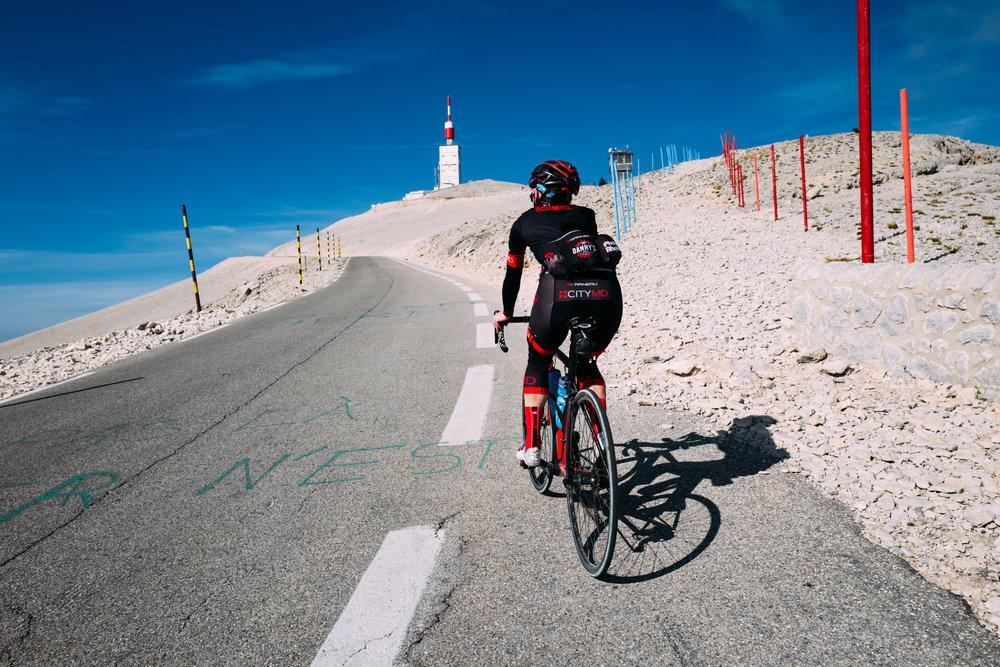 CMD tackling a climb  in France .
