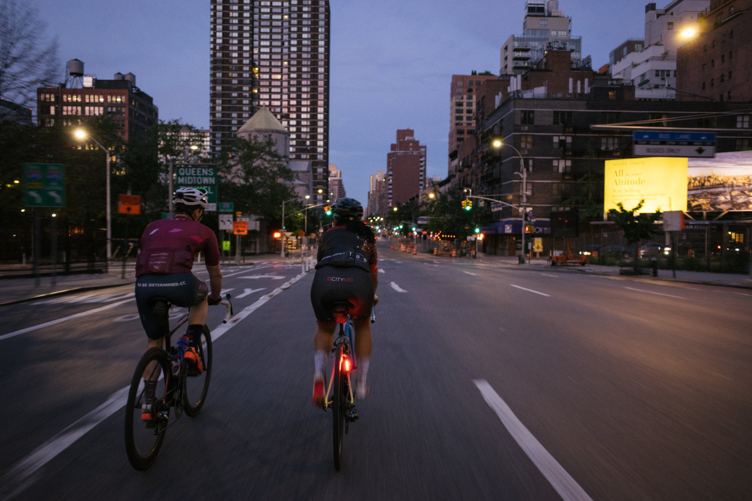 The early morning uptown crew, crushing down 2nd Ave on the way to Brooklyn.