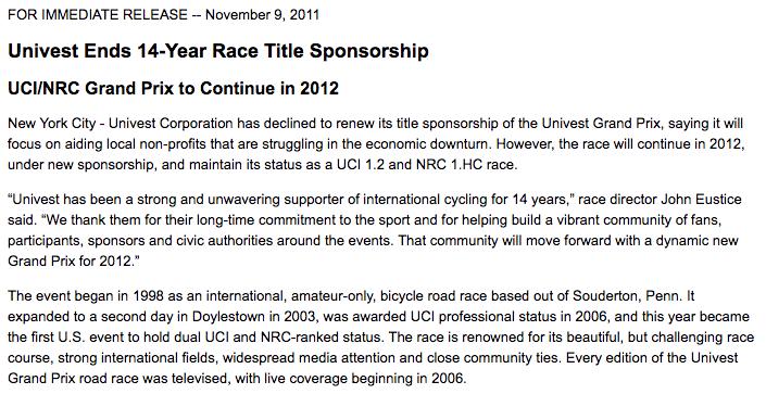 Univest Grand Prix  Press Release on November 9, 2011