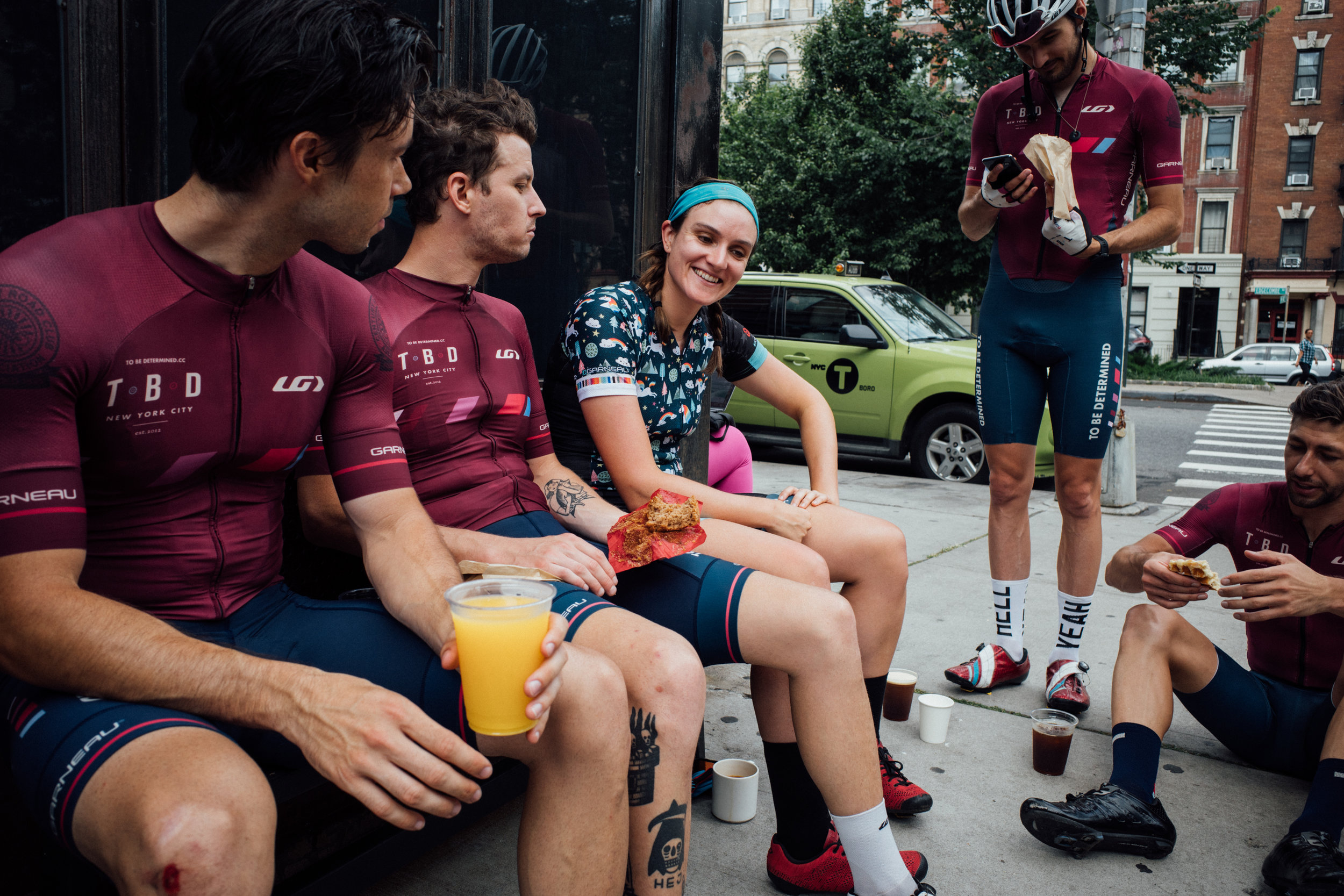 After several simulated race efforts, post ride coffee (and a few beers) with the squad is the perfect way to end a ride.