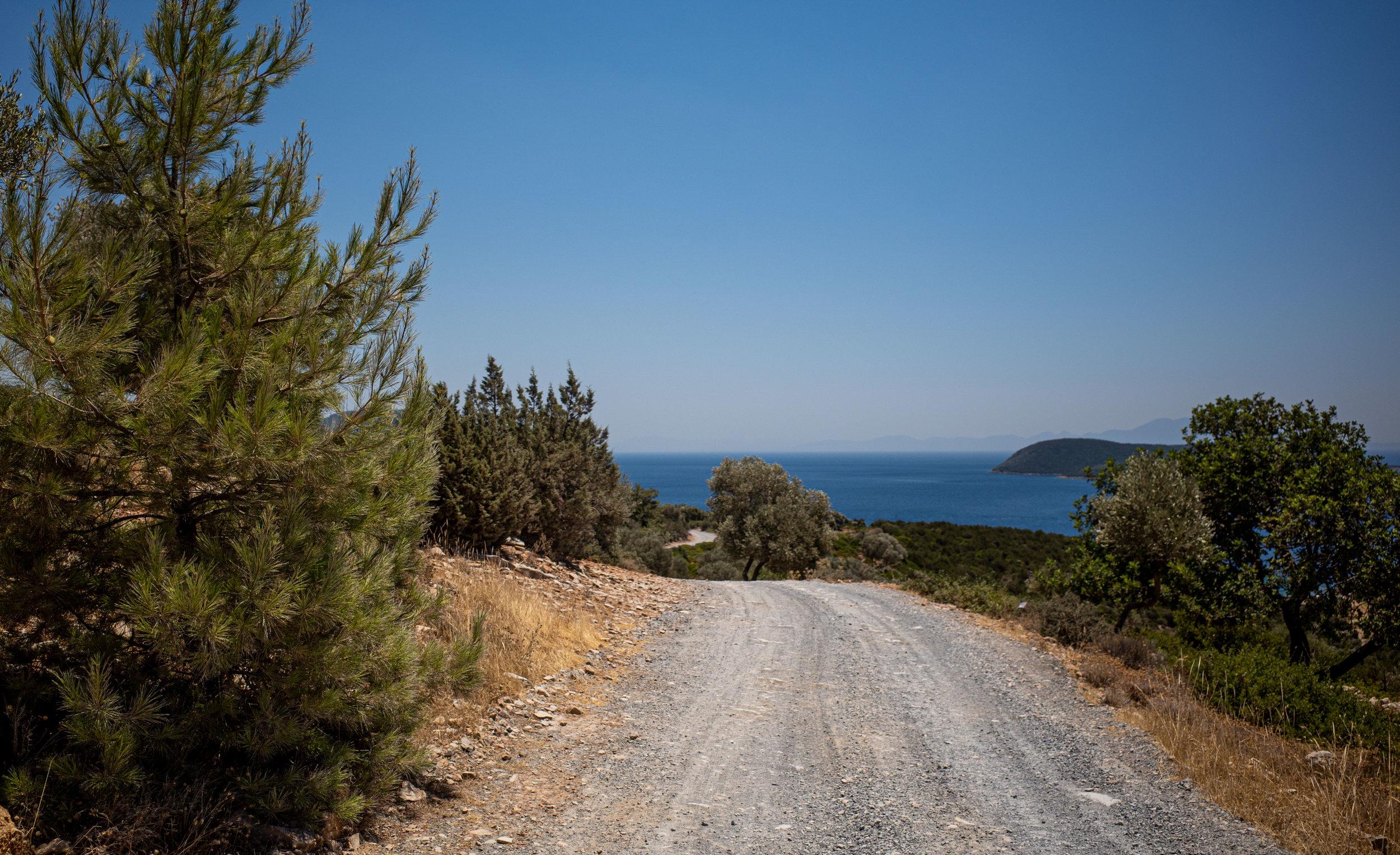 Gravel roads leading to gorgeous bays.