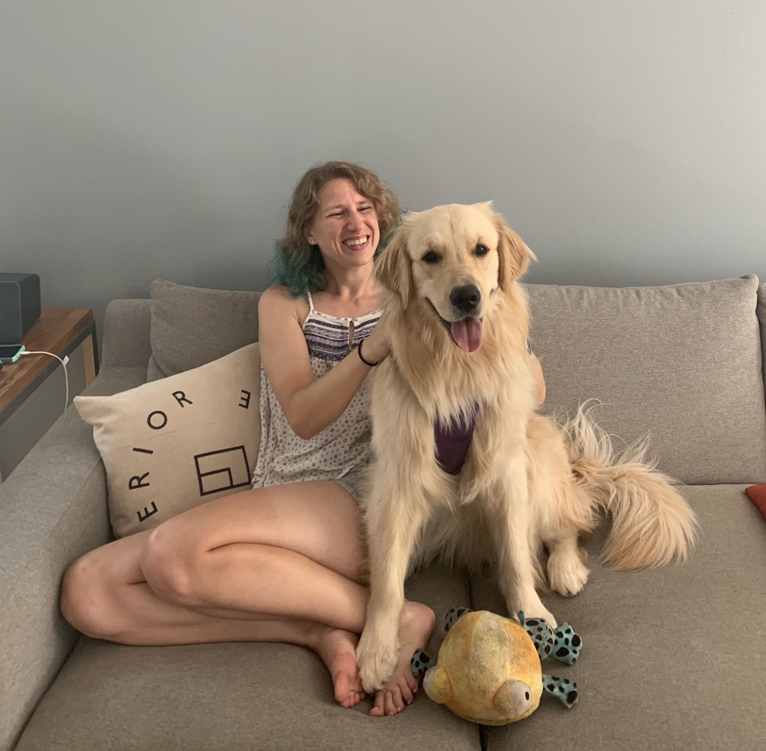 Chillin' on the couch with my new best friend