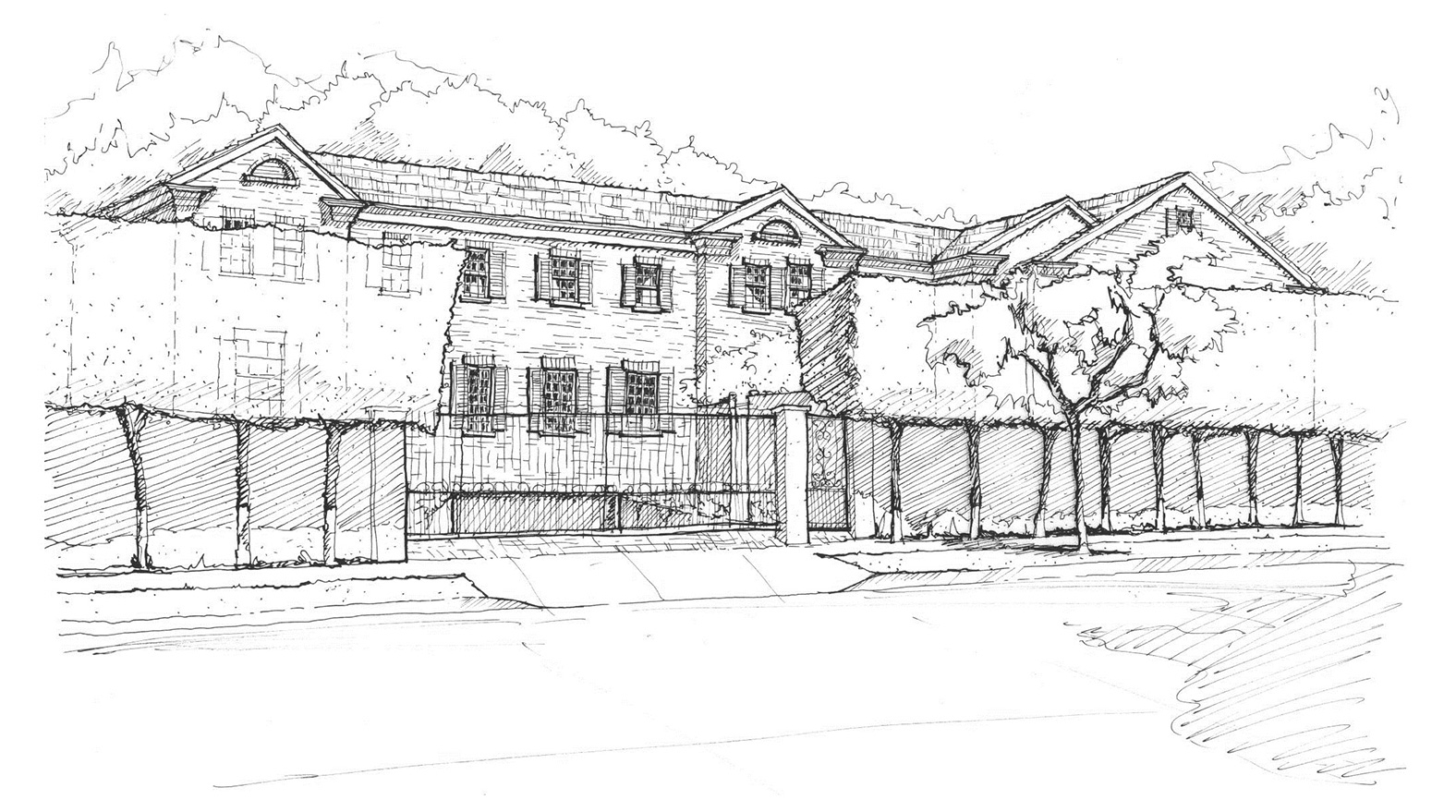 Sketch of a new home in Beverly Hills