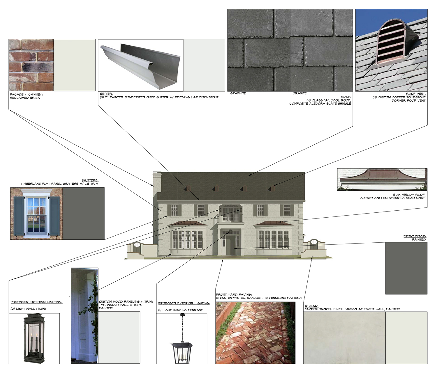 """While the Revit model we created in the Design Development phase conveys the overall appearance and feeling of the house, Construction Documents detail each of the specific features, finishes, fixtures, materials, and products that guarantee that appearance and feeling. This materials board by project manager  Katie Peterson  (2017) was created for Beverly Hills municipal review. The least glamorous, but most important work we do in the Construction Documents Phase is to get permit approval. In-depth city reviews, coordinating our engineers and collaborators to get every last detail right and signed off is often an intricate, time-consuming responsibility. Having the Construction Documents absolutely complete, accurate and consistent makes it """"all in a day's work""""."""