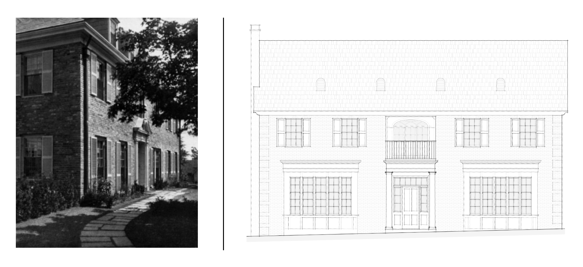 """Our studio is renowned for designing custom """"new-old"""" homes: brand new houses (or significant renovations) that make use of historical precedents but function for modern needs. To achieve the right aesthetic, we sometimes use images of older structures to help shape the concepts for our new designs.  Left:  Concept image of a brick Georgian Revival residence designed by Henry Frost and Eleanor Raymond, as featured in  The House Beautiful Building Annual 1926  (  the APT Building Technology Heritage Library online ).  Right:  A Schematic Design exterior elevation, showing the front facade of the custom new home in Beverly Hills designed by project manager  Katie Peterson ."""