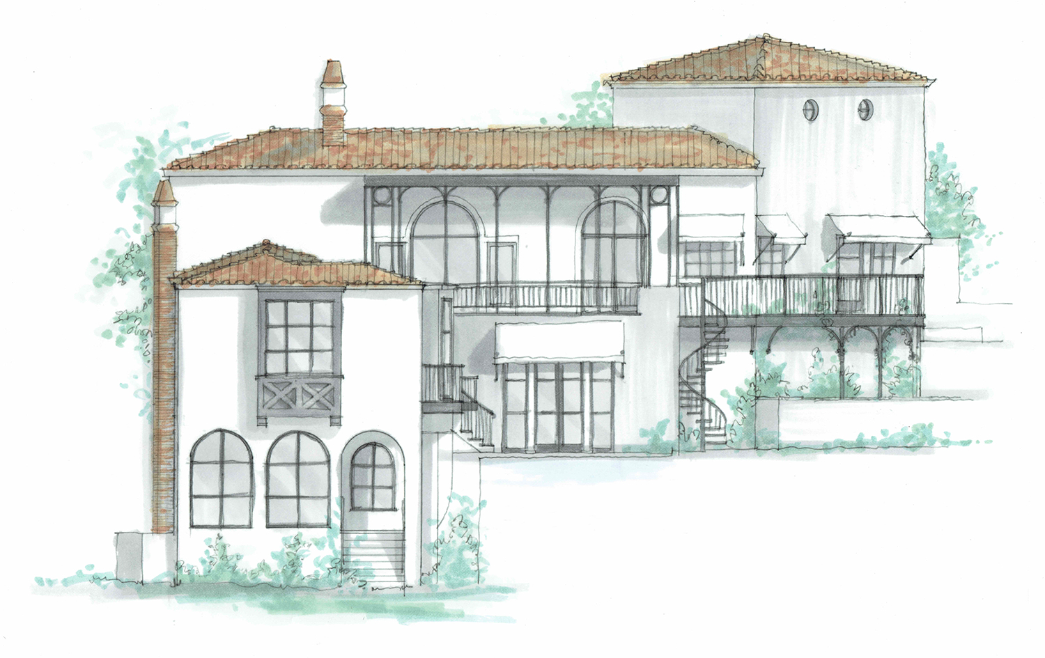 A pen and ink rendering of the rear facade of a Spanish Colonial Revival style residence in Los Angeles, designed by senior project manager  Ari Engelman  and rendered by interior architecture designer  Patrick Tennant , 2018.