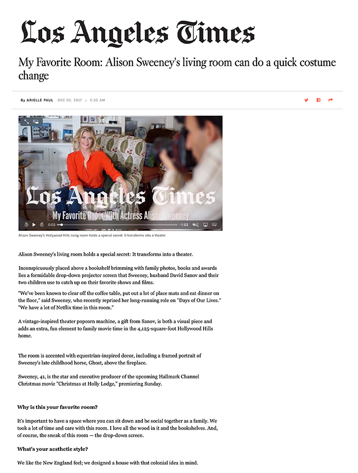 The Los Angeles Times featured our Classical Revival Residence designed for producer and actor Alison Sweeney.