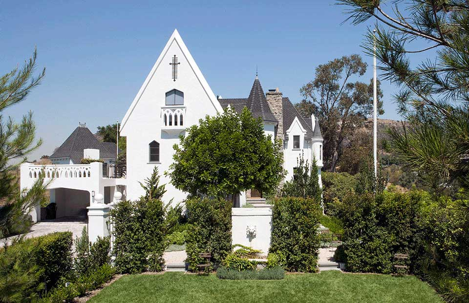 """The historic renovation of the French Normandy Revival """"Wolf's Lair"""" in the Hollywood Hills by Los Angeles residential architecture firm Tim Barber Ltd."""