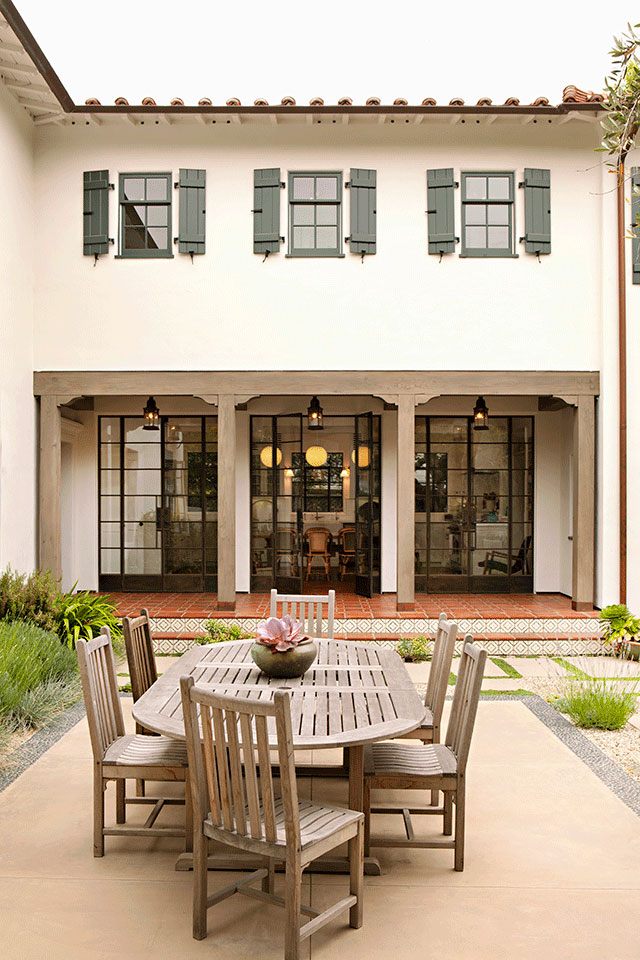 The courtyard of a Spanish Colonial Revival residence in Brentwood. Designed by Los Angeles architecture firm Tim Barber Ltd. and Patricia Benner Landscape Design.