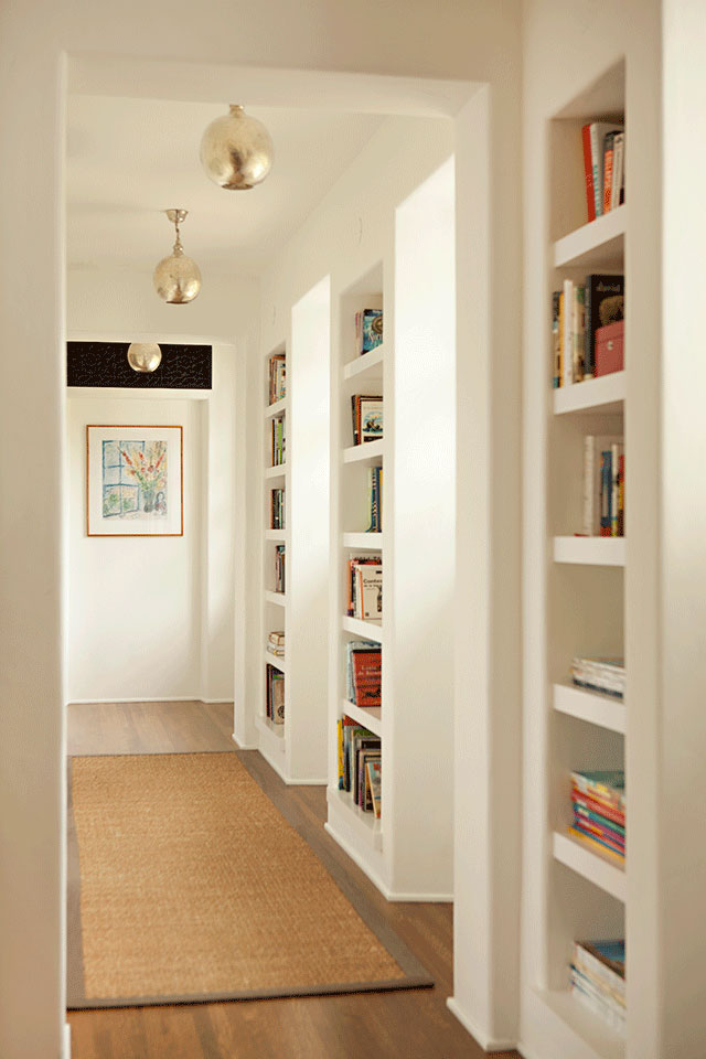 Hall with Built-In Bookshelves