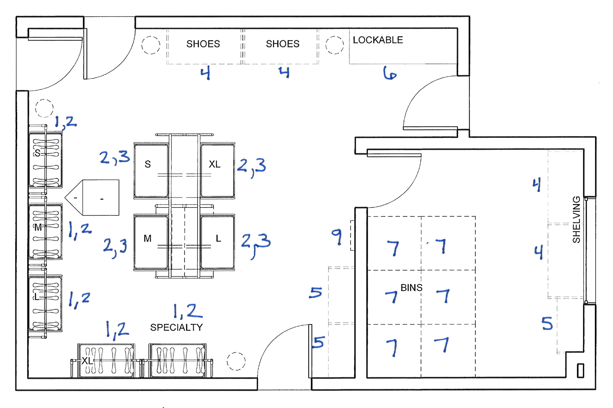 """The floor-plan for the new MFP """"shop,"""" featuring a new organizational system."""
