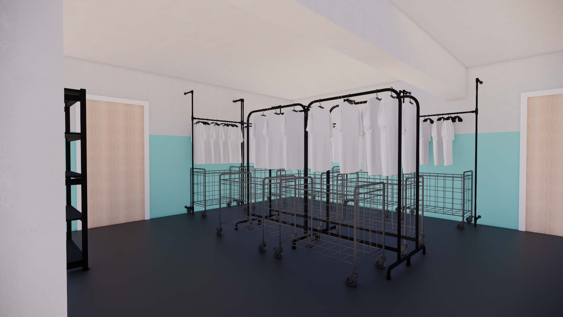 A 3-D rendering (view #1) of MFP's clothing shop, designed by TBL. The updated space features durable materials that are easily navigated by clients and staff.