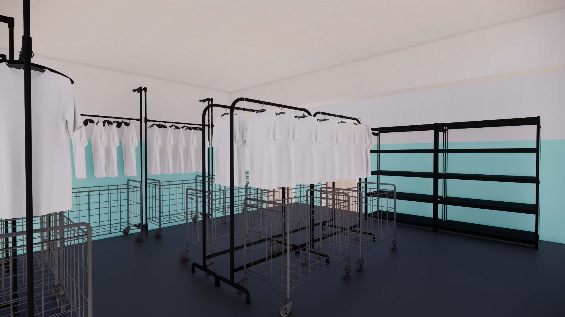 A 3-D rendering (view #2) of MFP's clothing shop, designed by TBL. The updated space features durable materials that are easily navigated by clients and staff.