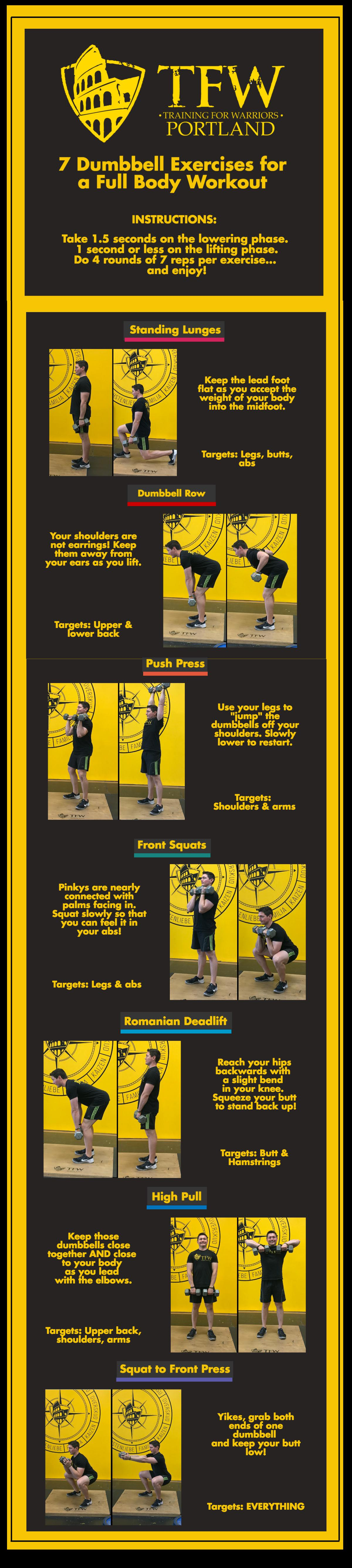 7 Dumbbell Exercises Infographic