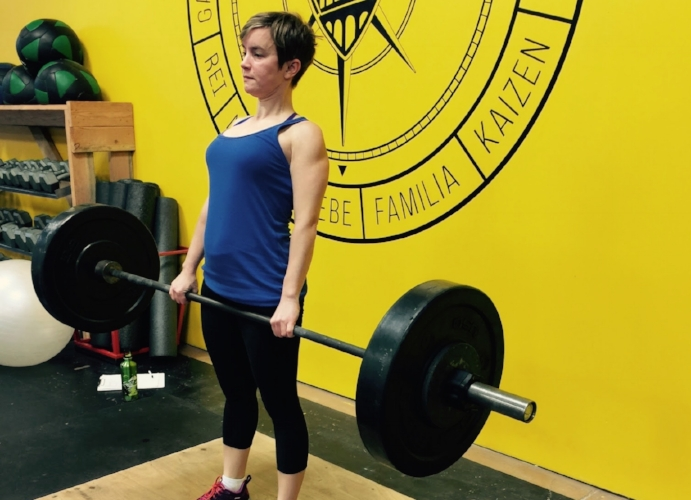 Cheryl lifts some easy weight!