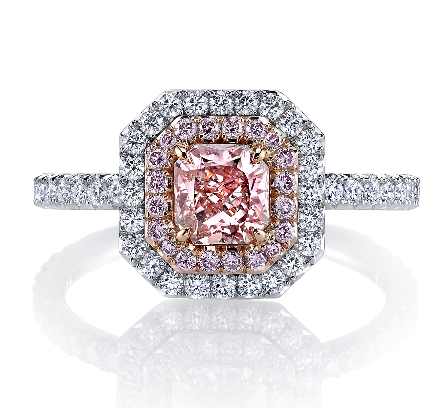 PINK ROSE   natural fancy pink radiant cut diamond set in a platinum and rose gold setting. This design features a double halo of pink and white french pave set diamonds. The saturation of this exceptional pink diamond gives this ring a flash of color unlike any other.
