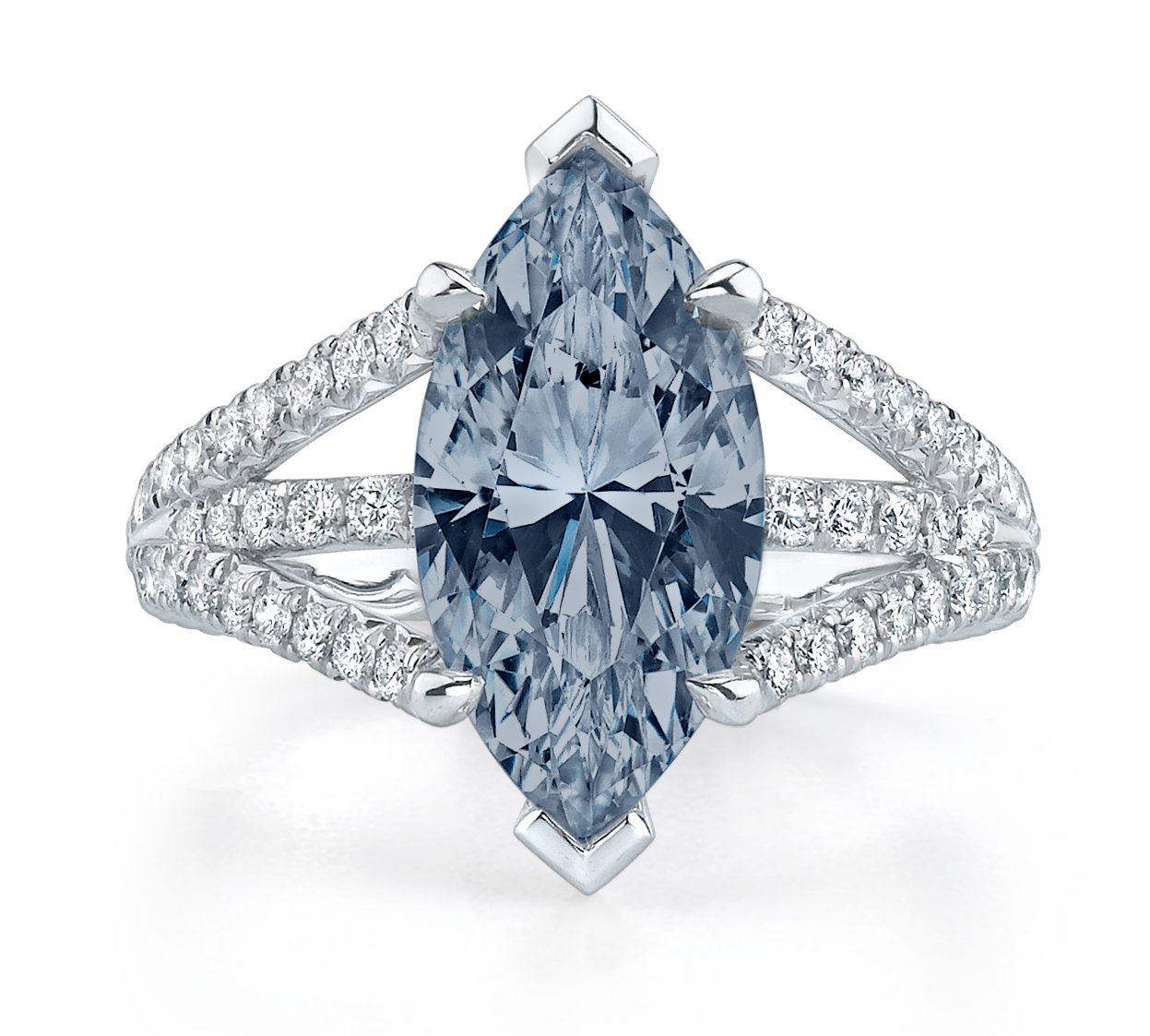 HENRIETTA  natural fancy blue marquise cut diamond set in a platinum triple shank setting. This design features french pave set round brilliant accent diamonds and a diamond bezeled basket below the center diamond.