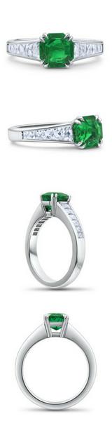 Green Emerald Engagement Ring Santa Monica