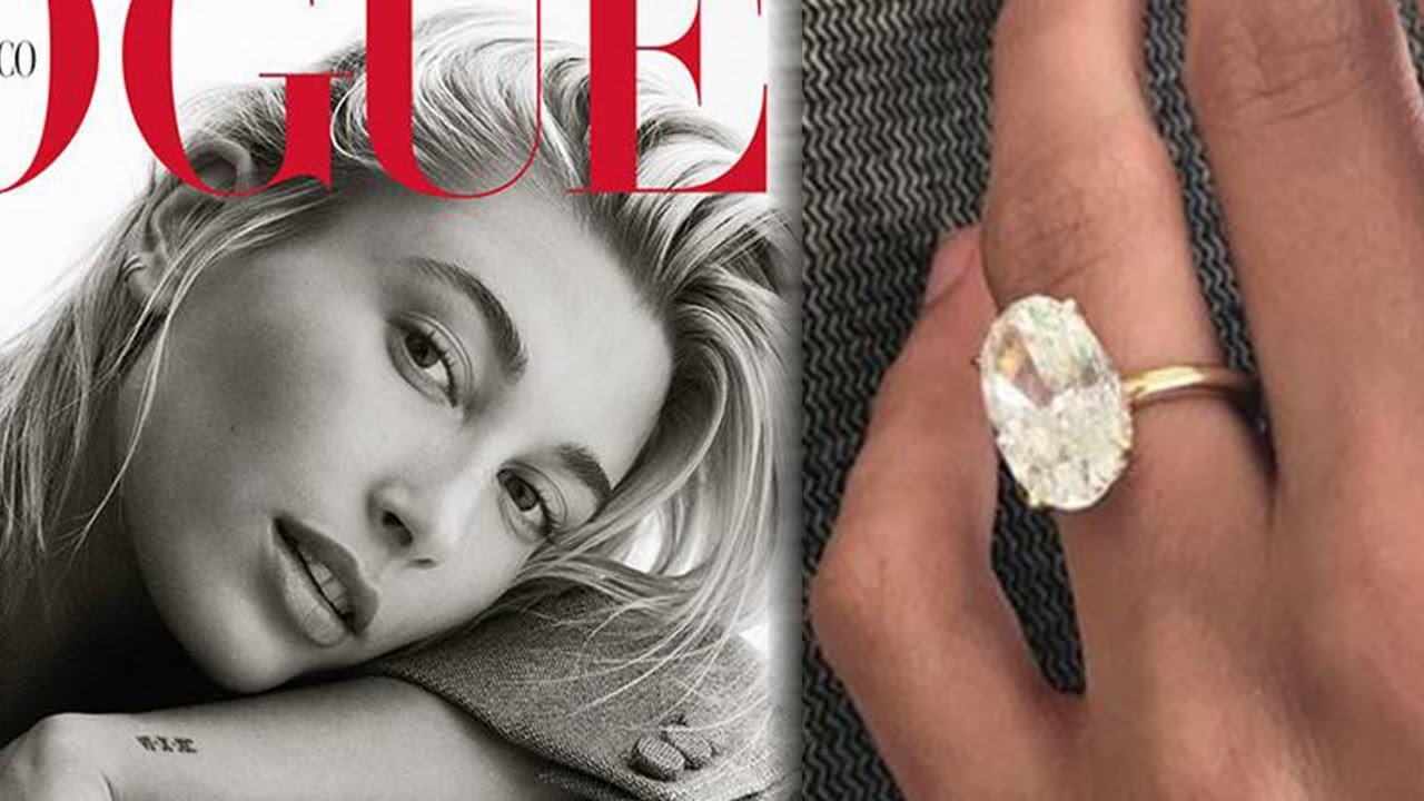 Hailey Baldwin - Justin Bieber proposed to Haley Baldwin with an impressive Oval Diamond set in a traditional yellow gold solitaire ring. Solitaire rings are a great option for engagement rings because they can be paired with almost any wedding band. You can also stack numerous bands on each side of the ring which works whether dressing up or down.