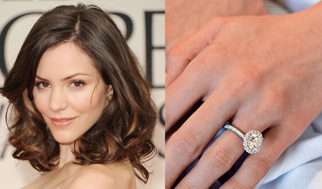 Katherine McPhee - Nick Cokas proposed to Katharine McPhee with a Natural Yellow Oval Diamond which is surrounded by Natural Pink Diamonds. Halo designs look amazing with Oval Diamonds, especially when the Oval has a great silhouette and overall shape to it.