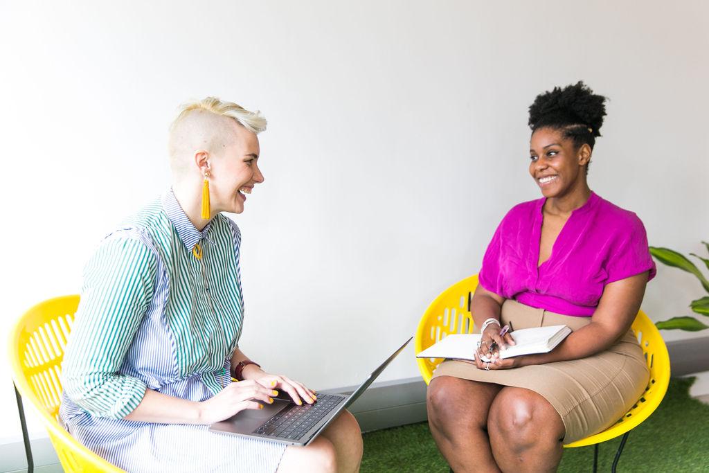women networking on patio