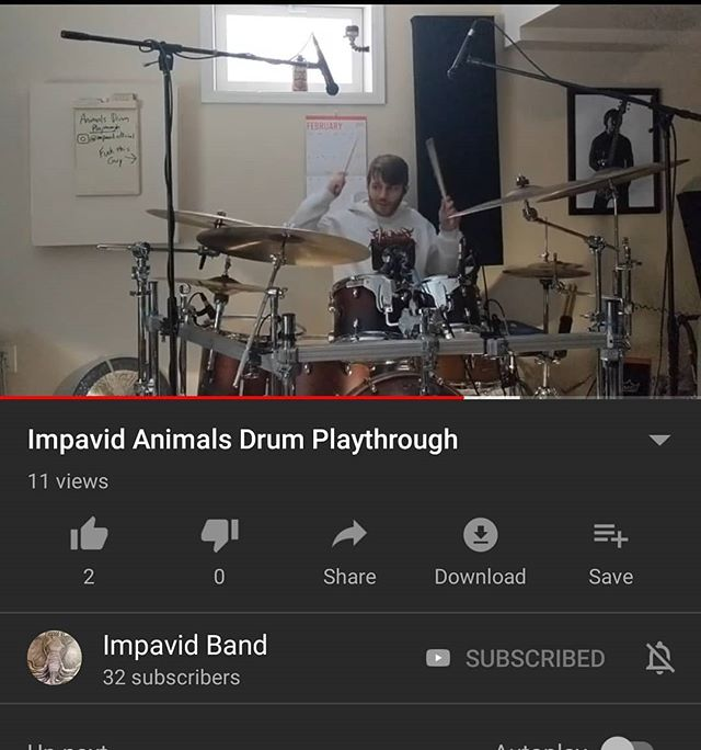 NEW VIDEO up on our YouTube channel! LINK IN BIO - - - - - - - - #youtube #music #impavid #band #drums #drummer #drum