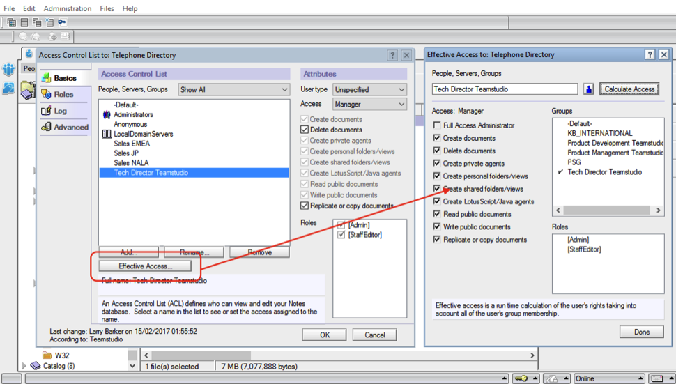 (Fig. 1) The Effective Access calculation feature in the Notes ACL Management Panel