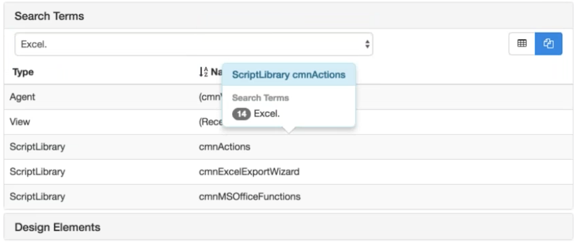 """Fig. 3 shows the design elements in a particular database that contain references to the search term """"Excel."""""""