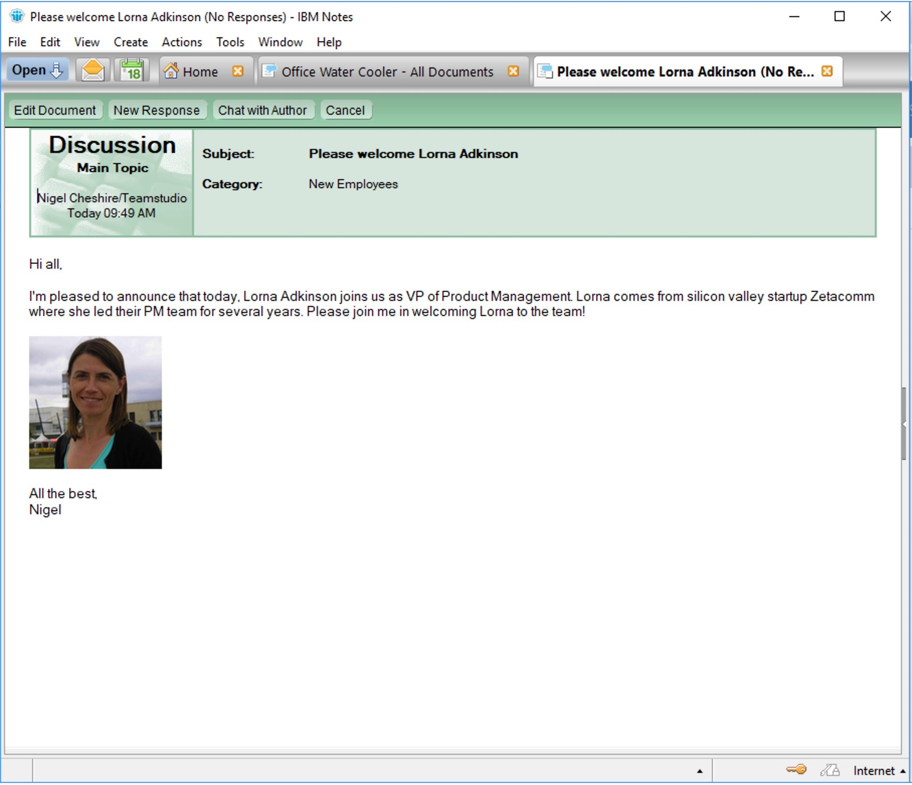 Discussion database in Notes Client