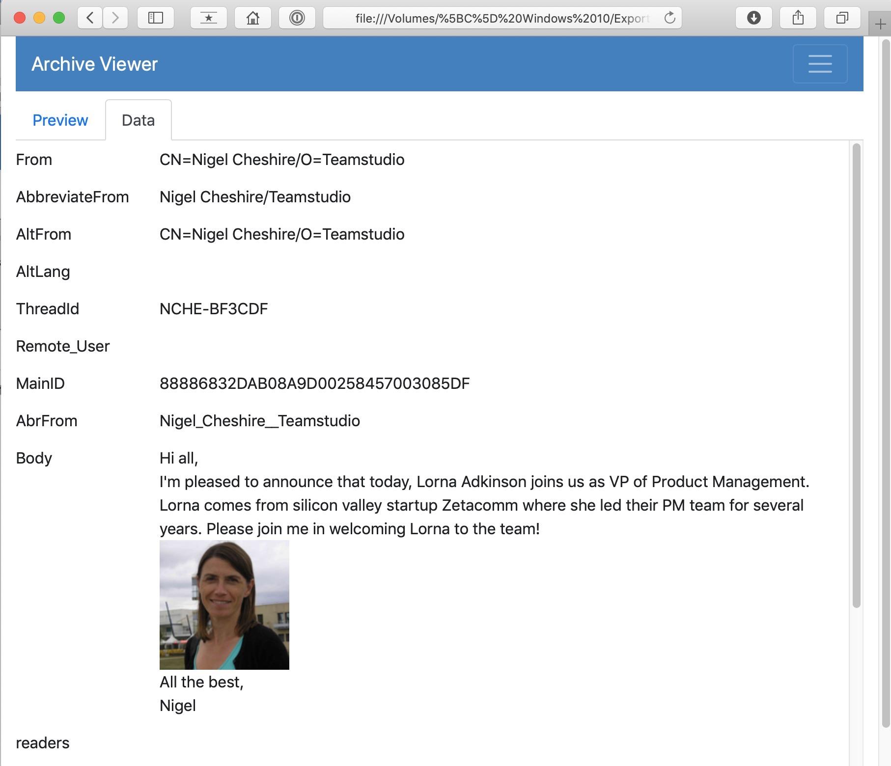 HTML archive data tab