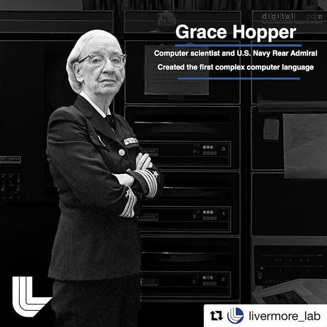 #Repost @livermore_lab with @get_repost ・・・ #didyouknow that Grace Hopper was born on this day, 98 years ago? She transformed computer science at a time when few women had access to the male-dominated world of math and physics. She helped invent one of the first computer compilers—the part of a software program that turns the programming language into ones and zeros that the computer can understand. . She pioneered the way for many more women in computer science to come after her, and women in these fields gather every year at a conference named in honor! These days, we can start teaching children how to code in elementary school, in large part because of Hopper's work and persistence. It was her belief that coding should be easy for anyone, not just highly trained mathematicians. We use versions of some of her coding languages today at the Lab! . P.S. She also helped coin the term 'bug'—a word used to signify an issue that keeps the program from running smoothly. . . . . #women #womenintech #womeninstem #stem #computerscience #math #mathematics #representationmatters #representation #llnl #bigideaslab #scienceonamission #gracehopper