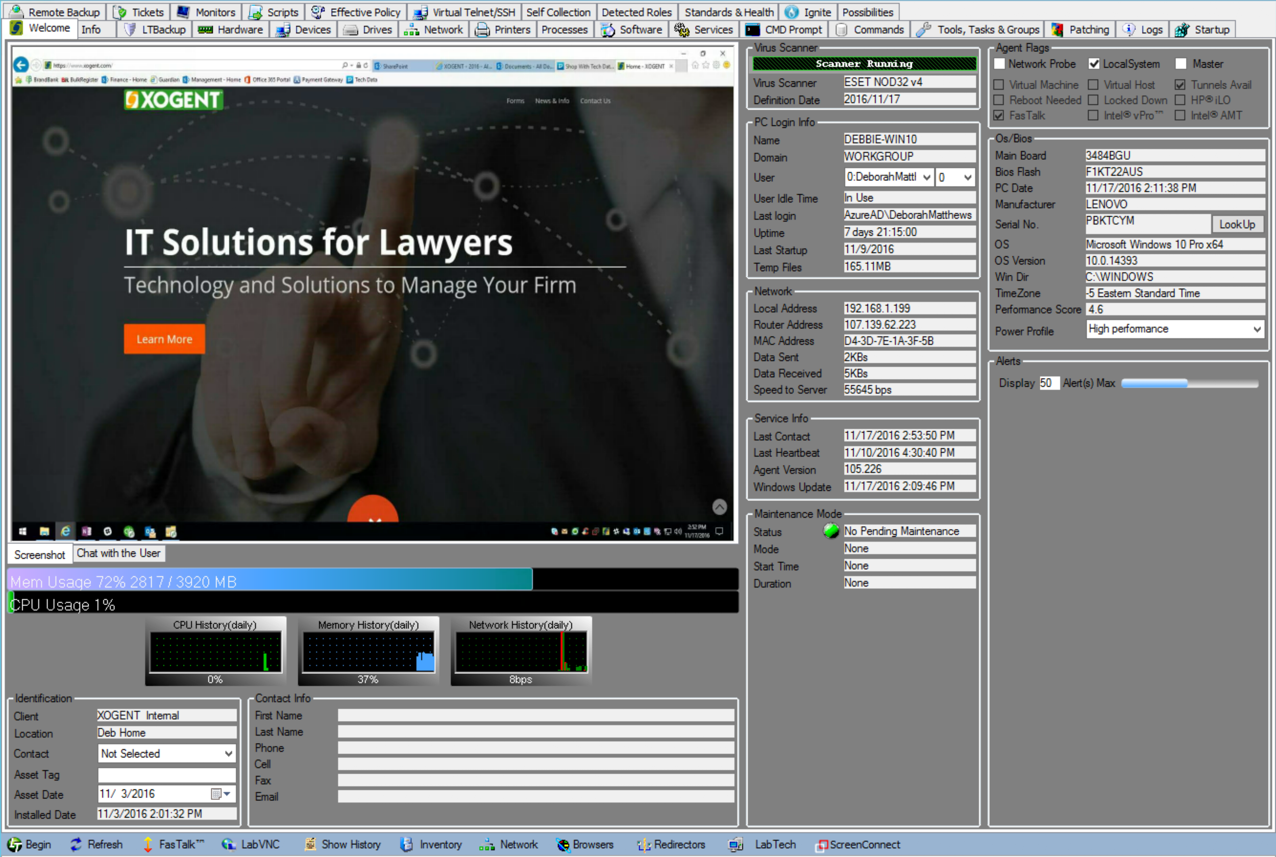A screenshot of the H.A.L.O. computer management screen.