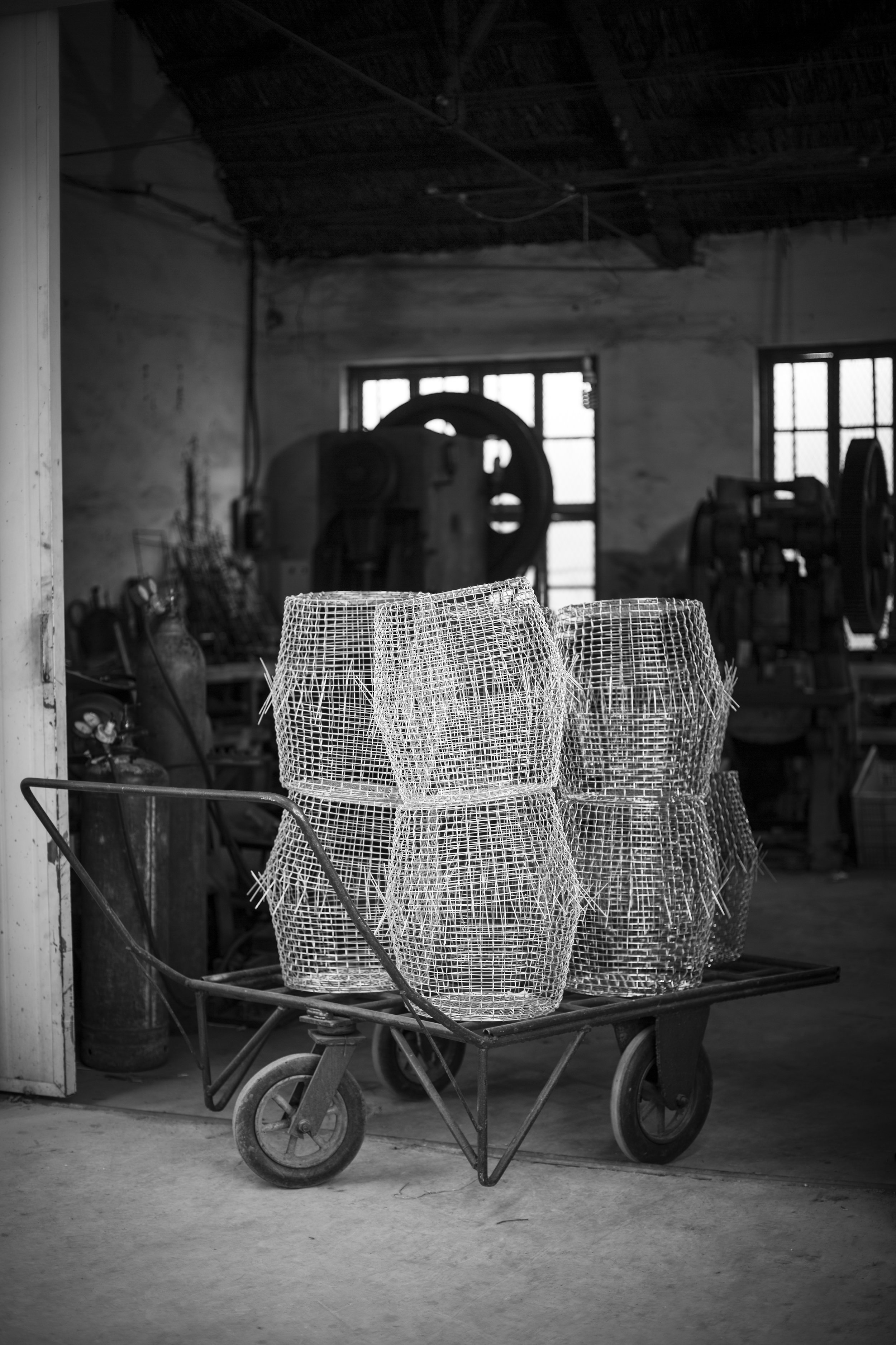 Korbo Classic handwoven baskets in manufacturing