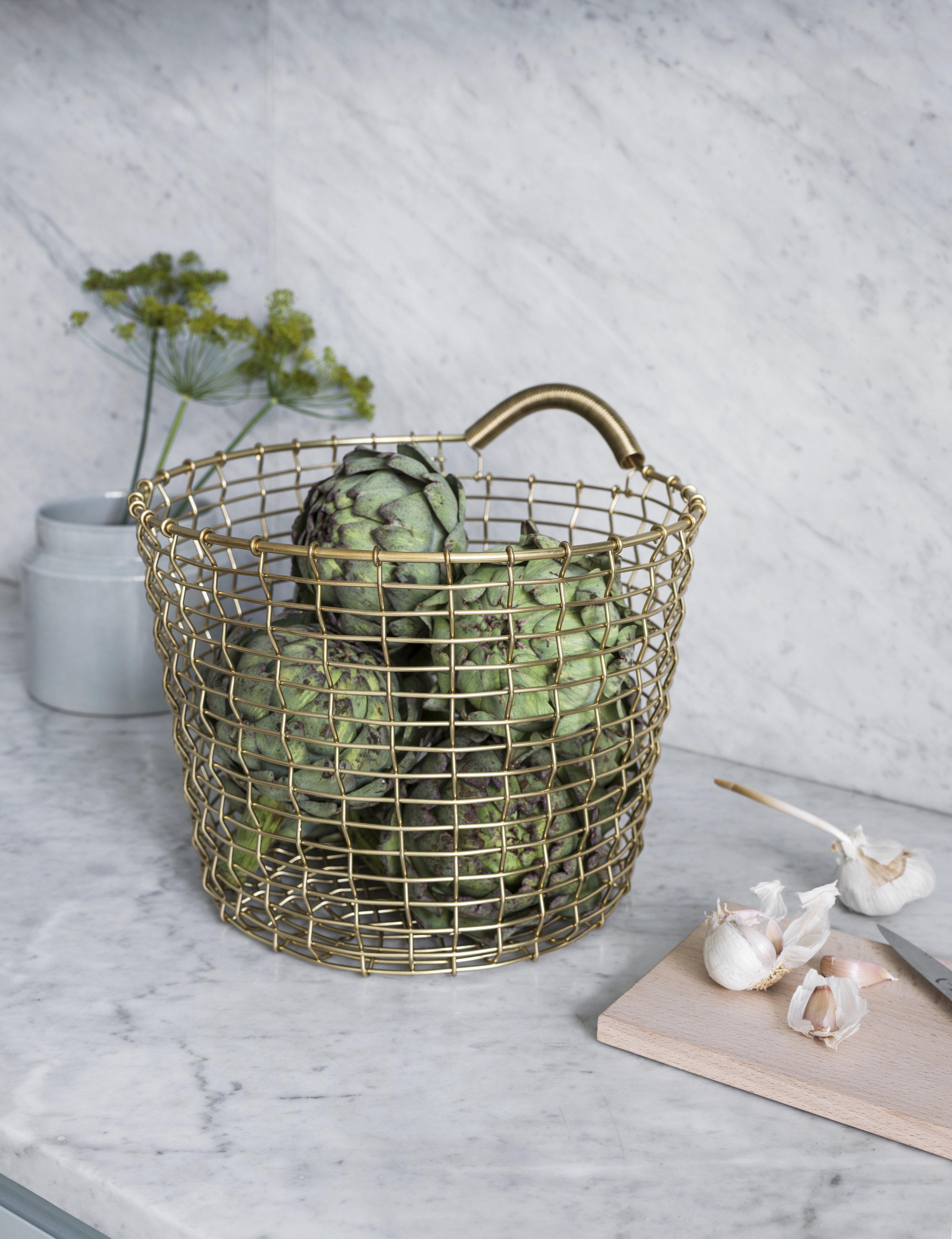 Fruits & vegetables basket, Bin 16 in Brass