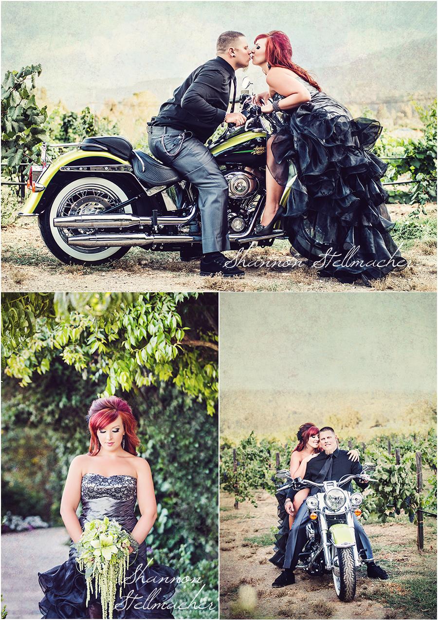 bride on motorcycle in vineyard napa