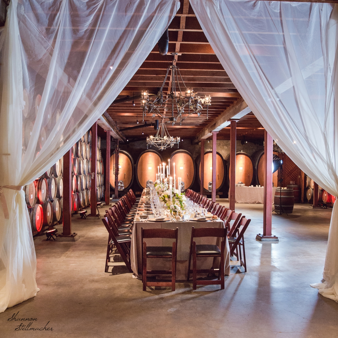 Barrel Room with Drapery at V. Sattui Winery