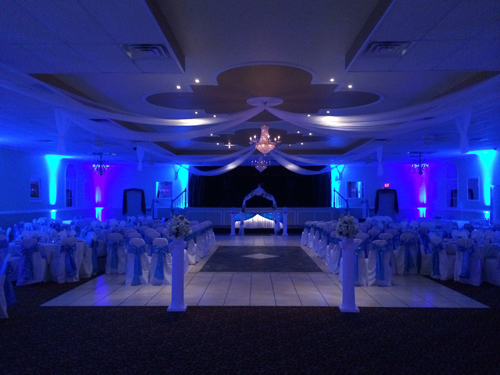Enhance your banquet room with Uplighting and Monogram with your Names in Lights. Match your color scheme and add pop to the room. Impress your guests with visual impact.