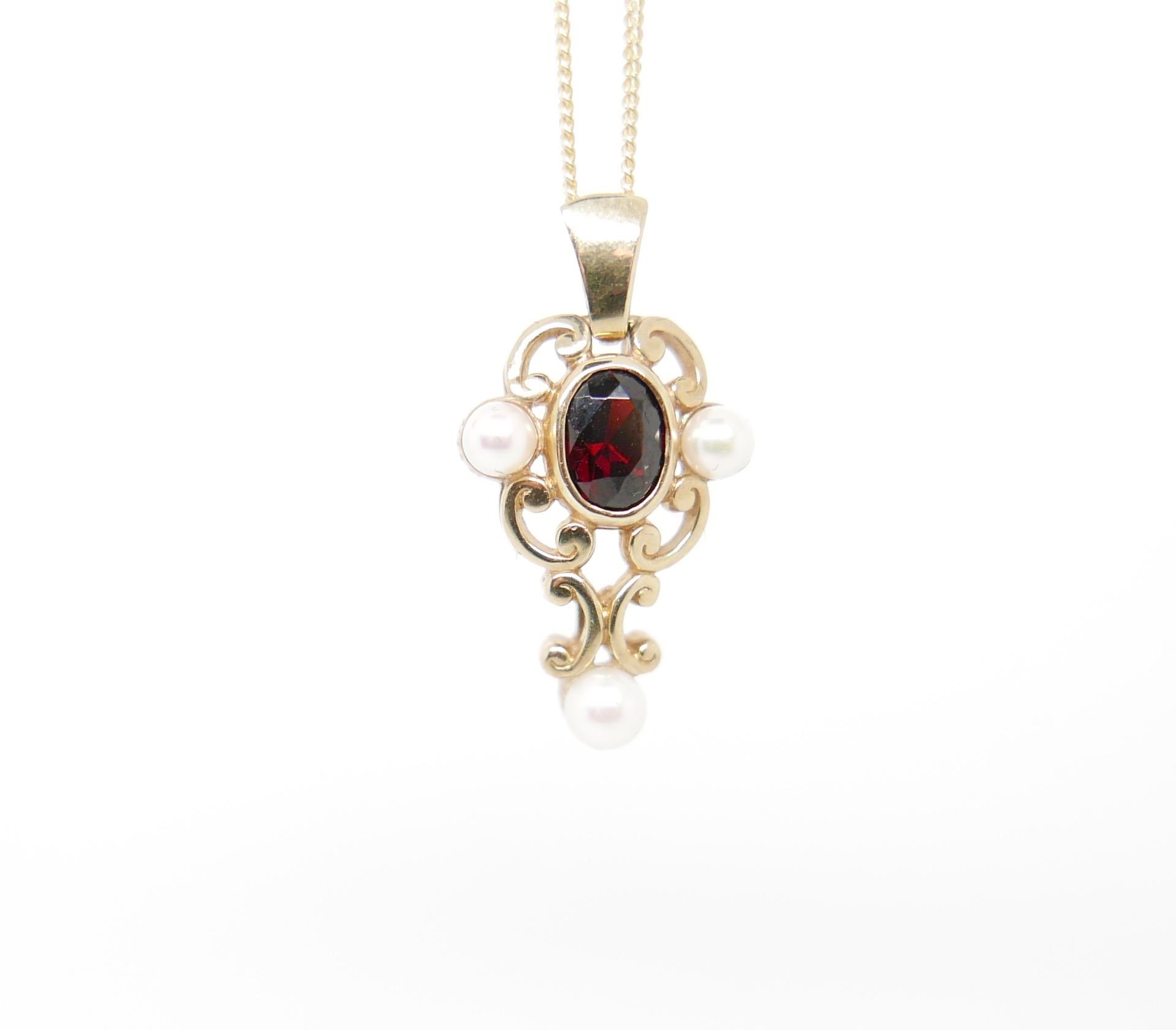 Garnet & Pearl Pendant