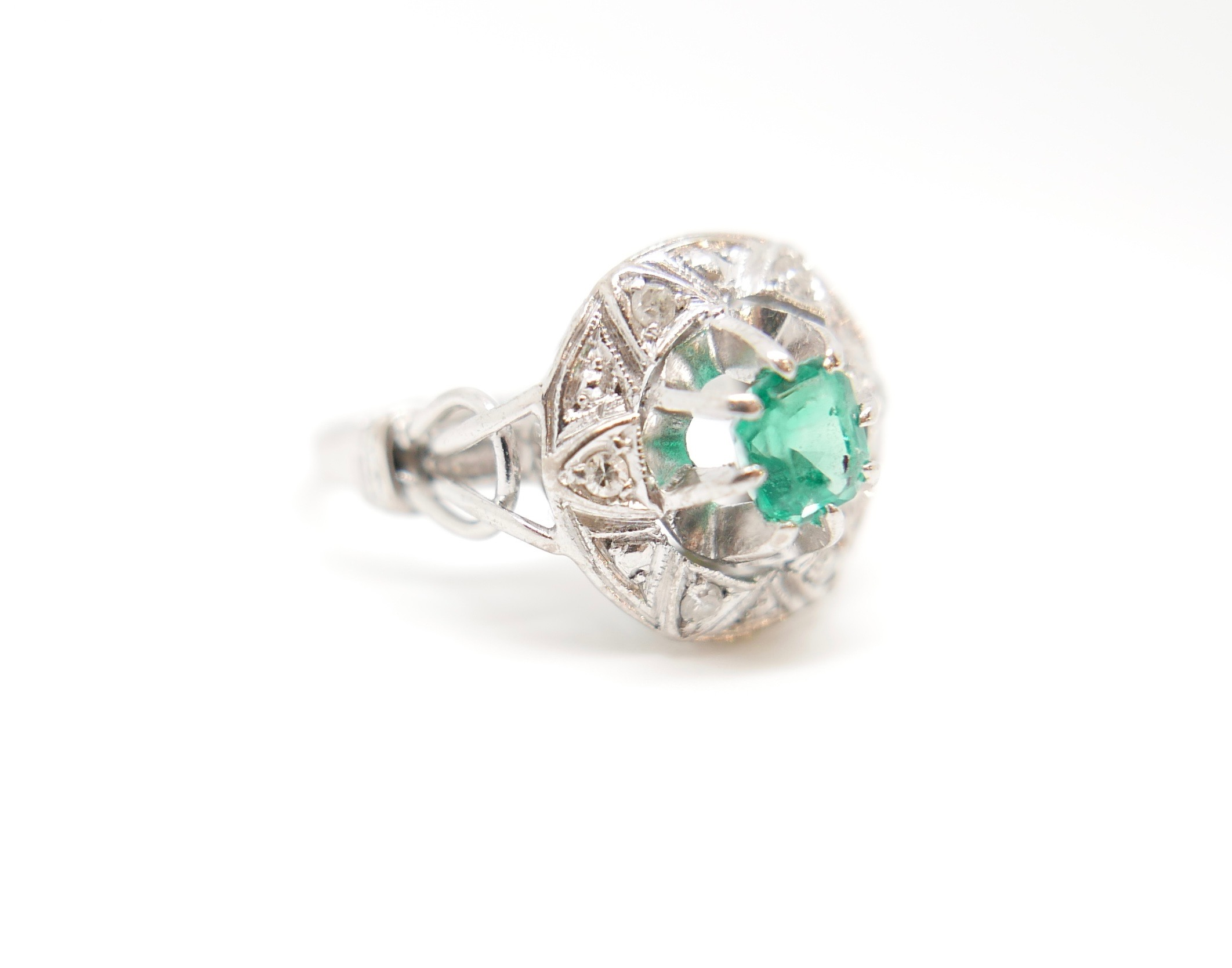 Art Deco Emerald Diamond Ring In 18ct