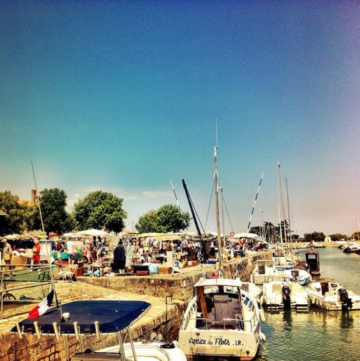 Antiques market on the water in Ars