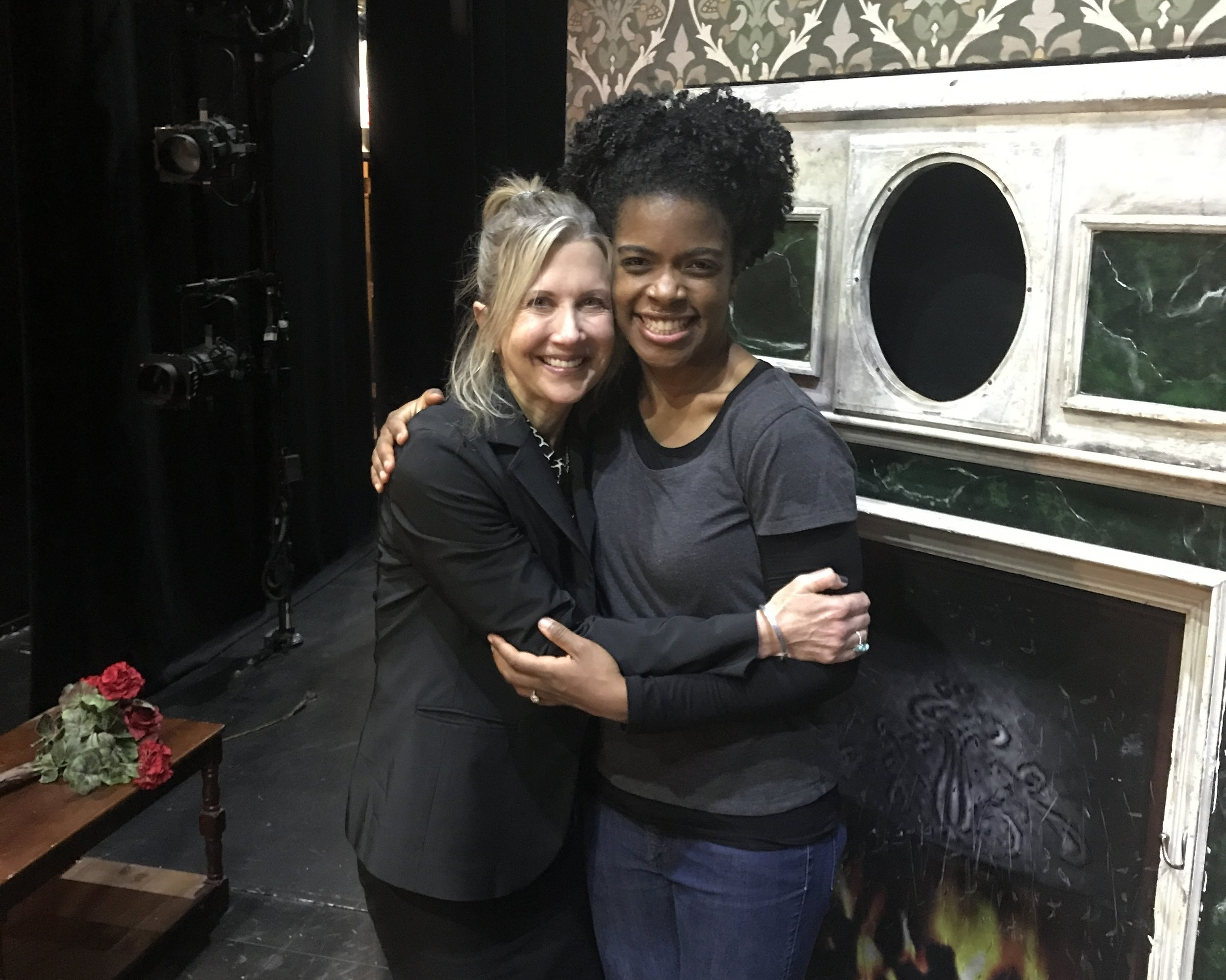 Pamela with former student Ashley Bryant backstage at   The Play that Goes Wrong   on Broadway