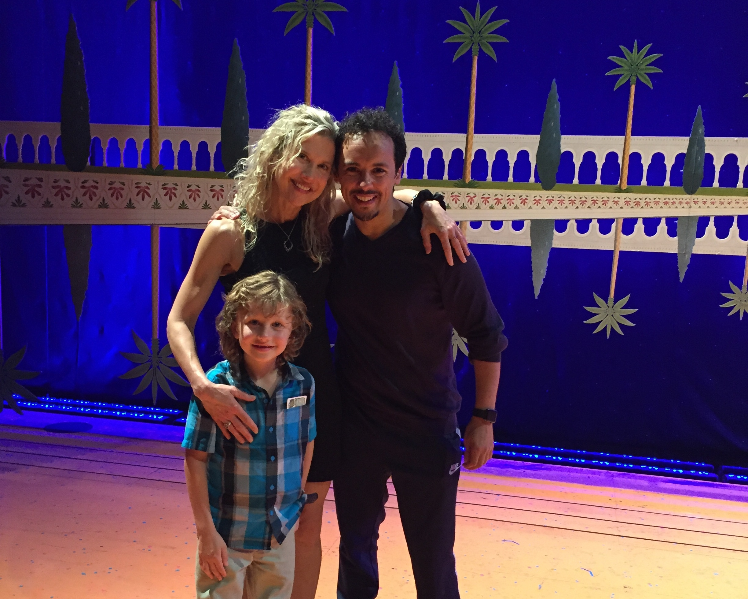 Pamela with client Rachid Sabitri on the stage of London's Westend production of    Alladin