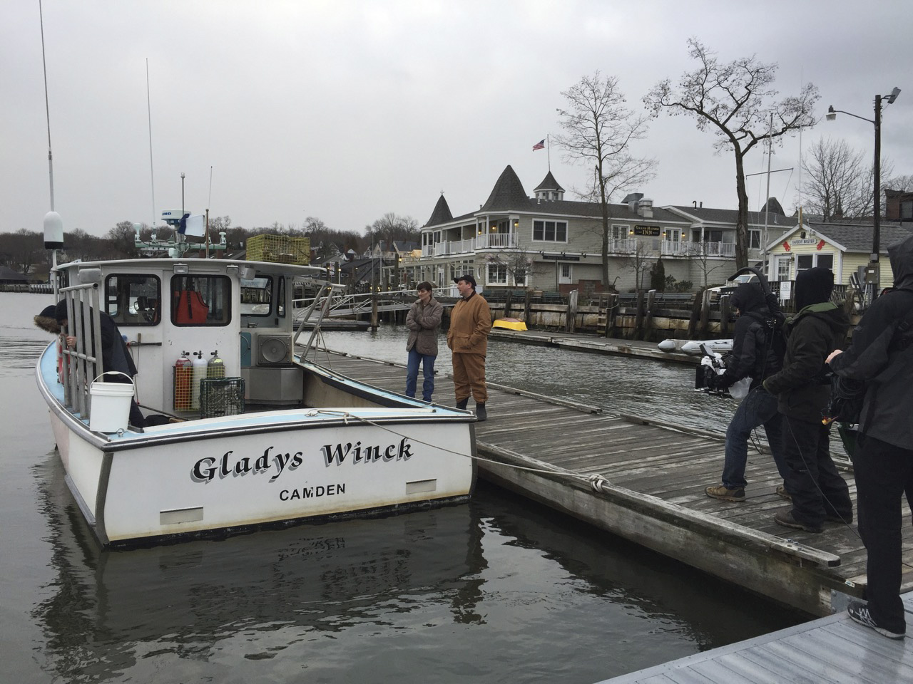 First day of shooting in Camden Harbor