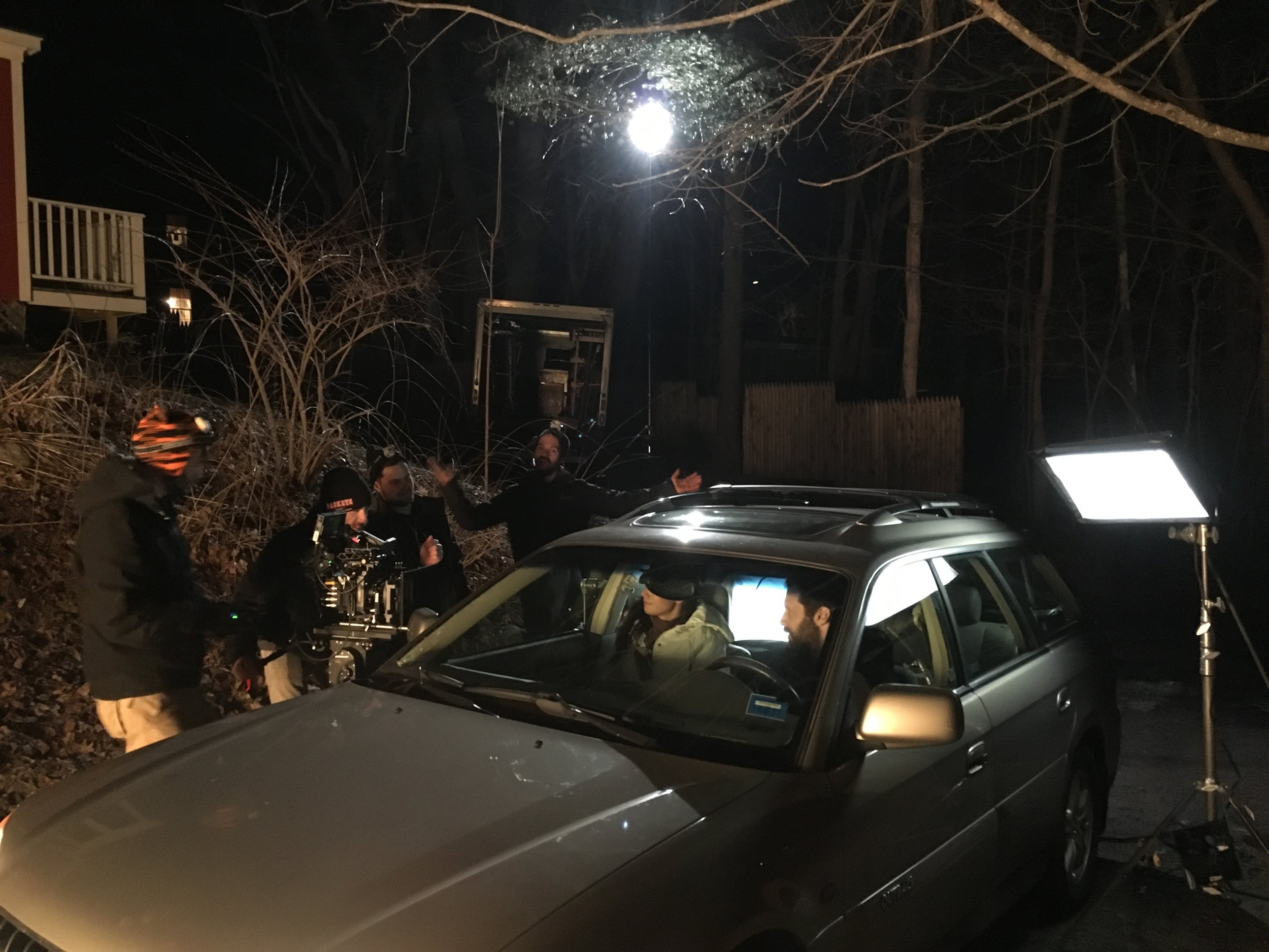 Shooting a car scene with actors Adam Wade Mclaughlin and Teri Reeves