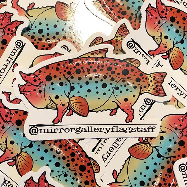 We've got stickers! Complimentary for anyone who comes by. ... .. #hogtrout #flagstafftattoos #downtownflagstaff #aztattooer #nau