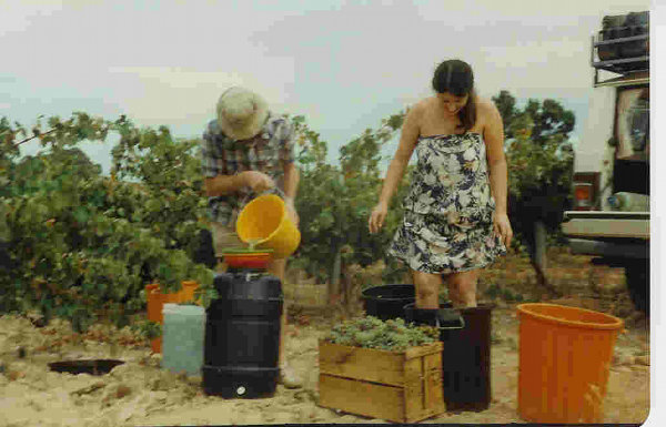 Rhonda and I making Chardonnay on-site, Mudgee 1980.