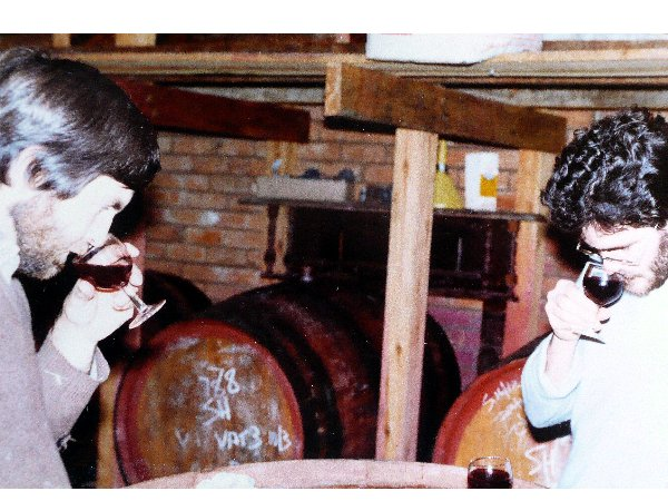 "Brian Holmes and yours curly ""nosing"" a new wine in front of a couple of Glenfinlass puncheons."
