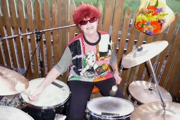 Irene playing drums with her band The Jam Tarts. She insists she's the jam