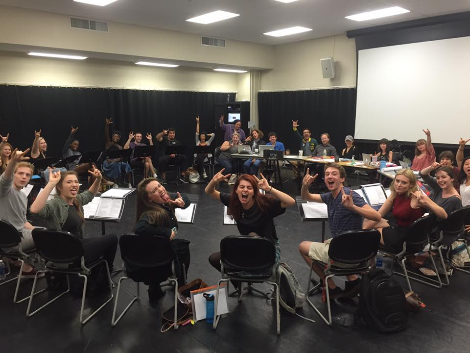 Victoria and her fellow cast-mates at the first read-through of  She Kills Monsters  at Rider University.